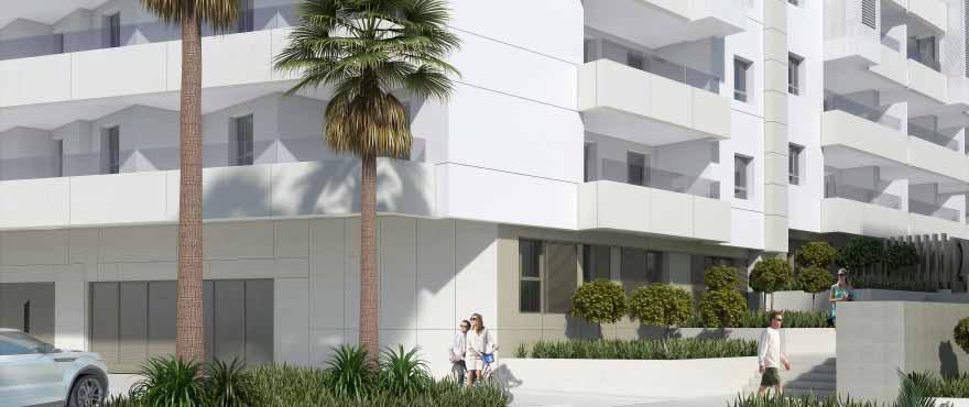 Außenansicht der Wohnanlage Acqua, Wohnungen zu verkaufen in Marbella