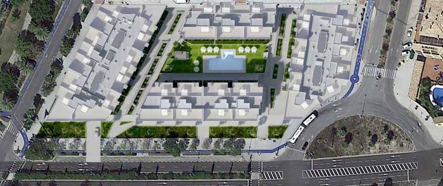 Вид сверху на жилой комплекс «Acqua» в Пуэрто-де-Алькантара, муниципалитет Марбелья