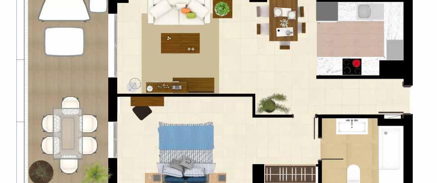 Grundriss 1-Schlafzimmer-Wohnung, Anlage Acqua