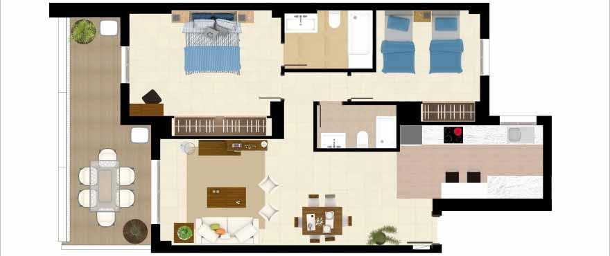 Grundriss 2-Schlafzimmer-Wohnung, Anlage Acqua