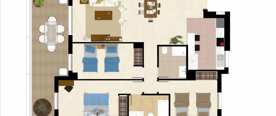 Grundriss 3-Schlafzimmer-Wohnung, Anlage Acqua