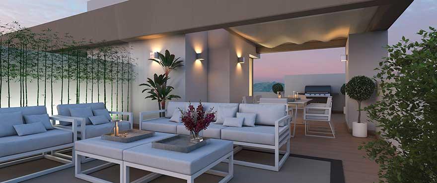 Terrasse spacieuse d'une maison mitoyenne, Horizon Golf