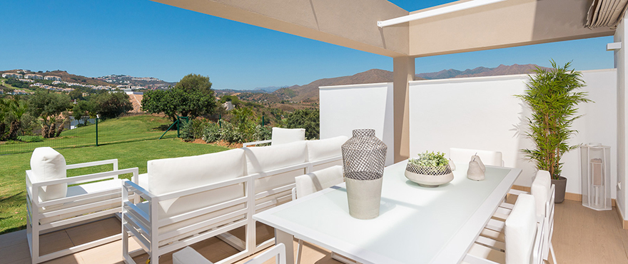 Spacious and sunny terrace at Horizon Golf Townhouses.