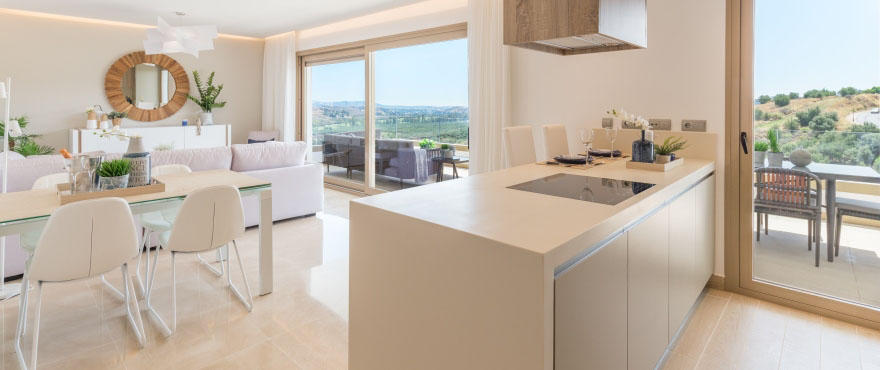 Modern and open kitchen in new apartments at Horizon Golf