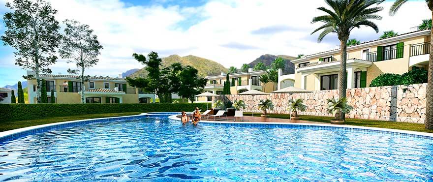 Lägenheter med gemensam pool och trädgårdar i Colonia de San Pere, Mallorca