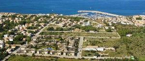 Aerial view of Colonia de Sant Pere, very close to the marina and beach