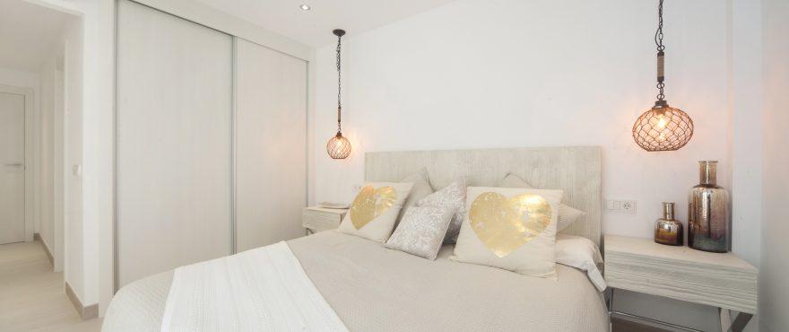 Luminous bedroom of Bahía San Pere apartments