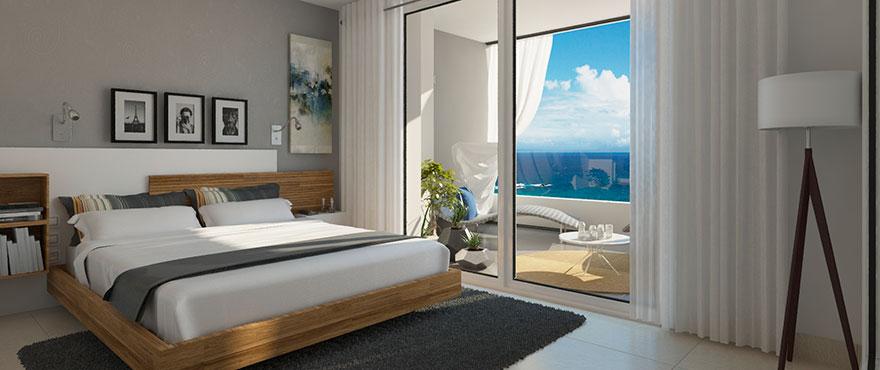 Dormitorio de Panorama Mar, con vistas al mar