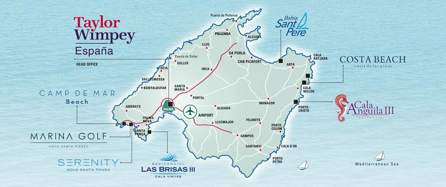 Map New properties for sale Mallorca