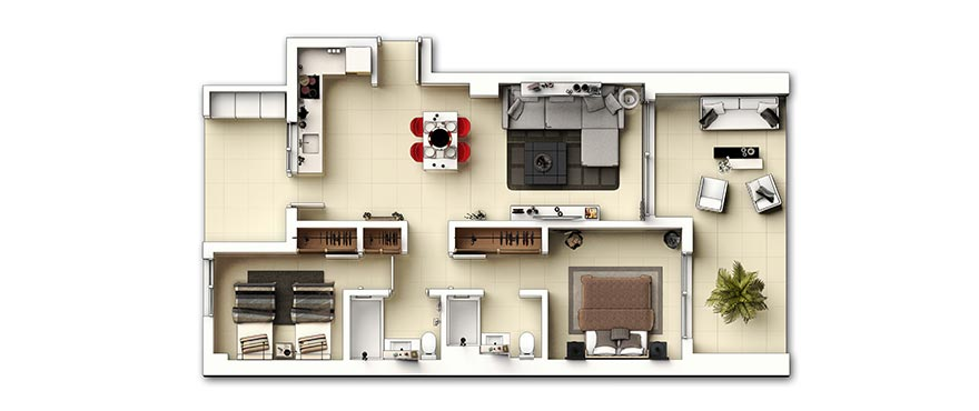 Plan 2 chambres, Appartements Panorama Mar