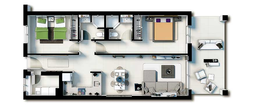 Plan, apartment 2 bedrooms
