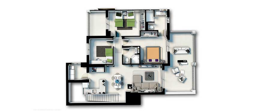 Plan, apartment 3 bedrooms