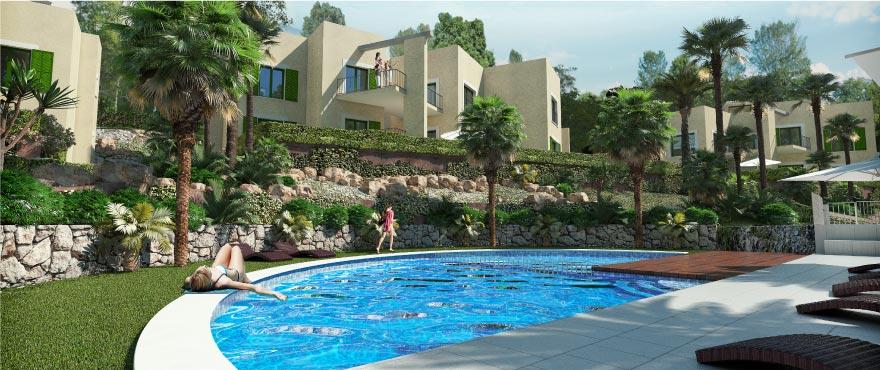Cala Vinyes Hills fasad, nya lägenheter till salu, Mallorca
