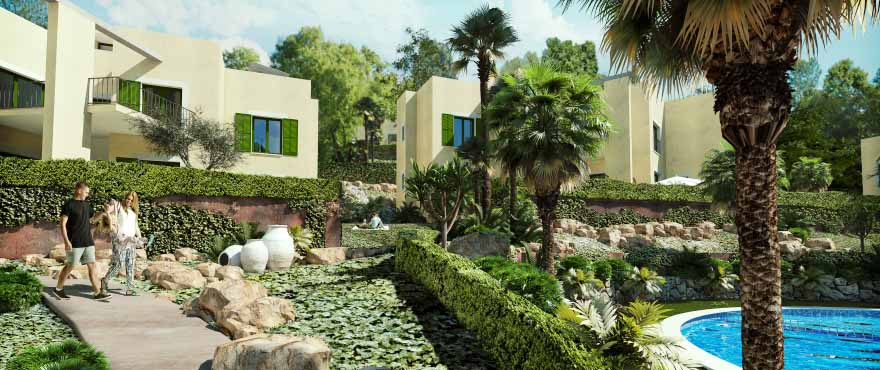 Cala Vinyes Hills communal swimming pool and gardens, Calvia