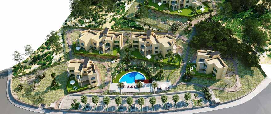 Бассейн и сады общего пользования в жилом комплексе Сala Vinyes Hills, Кальвия