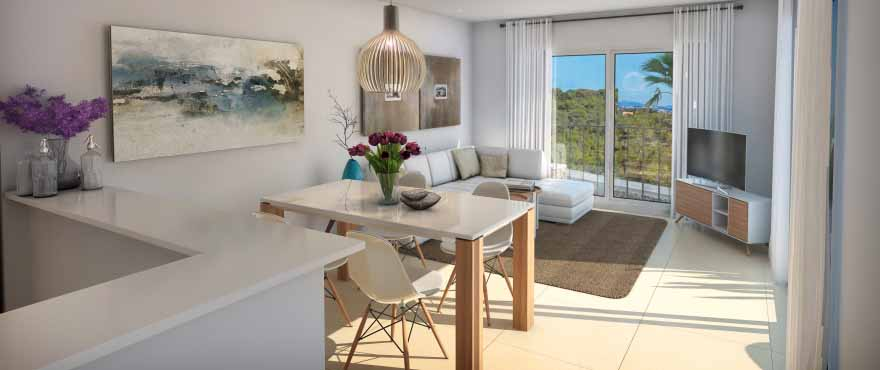Cala Vinyes Hills, luminous salon, apartment and duplex for sale