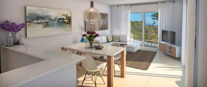 Cala Vines Hills, salon luminoso, nuevos apartamentos a la venta, Taylor Wimpey