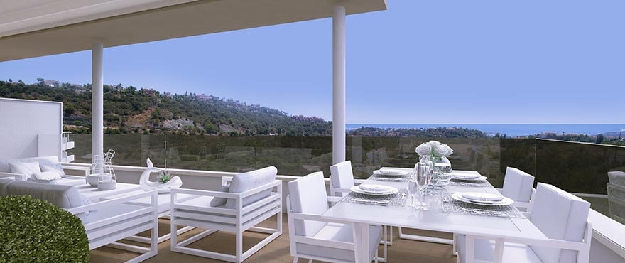Terrace of the penthouse at Botanic with spectacular views of the golf course and the Mediterranean Sea.