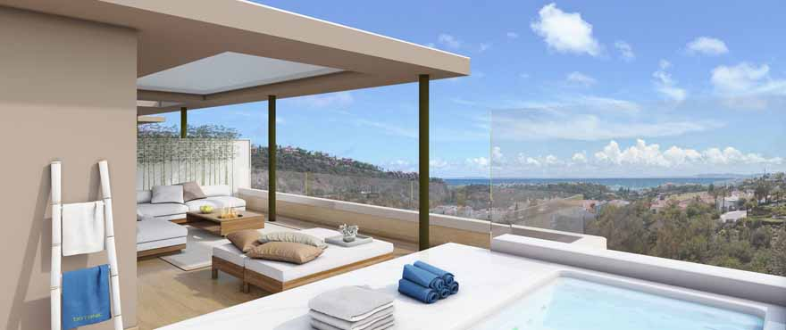 Incredible large terraces, all south facing