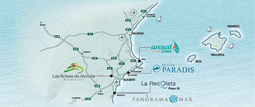 Map over Taylor Wimpey developments in Costa Blanca