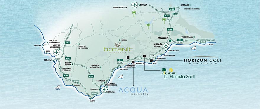 Carte de l'emplacement des logements de Taylor Wimpey sur la Costa del Sol