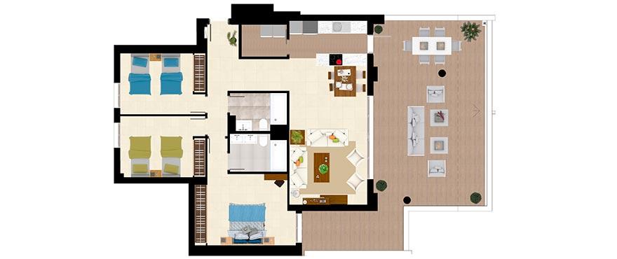 Plattegrond type A - appartement met 3 slaapkamers en 2 badkamers
