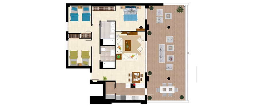 Plan Type B – Apartment with 3 bedrooms and 2 bathrooms