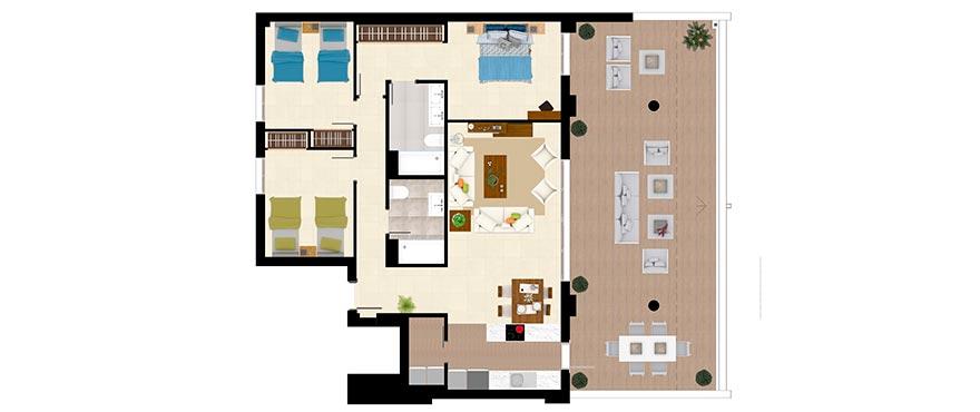 Plattegrond type B - appartement met 3 slaapkamers en 2 badkamers