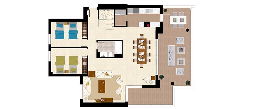Planimetria tipo C - duplex di 3 camere e 3 bagni