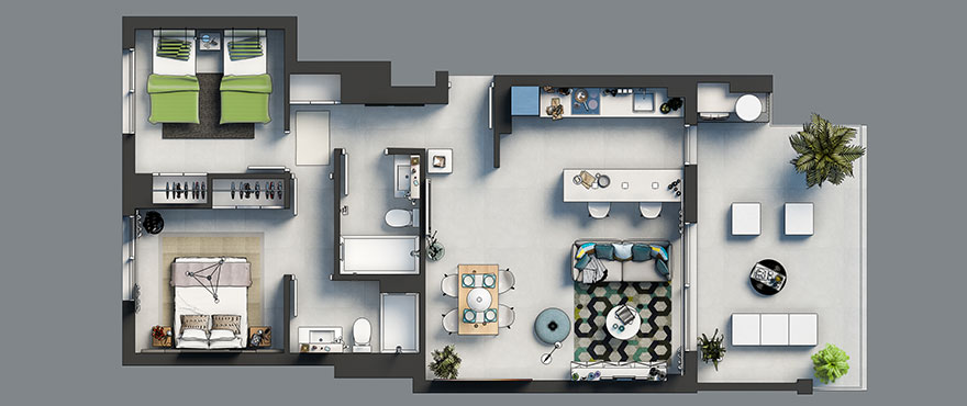 Floor plan, 2 bedroom, Arenal Dream, Javea.