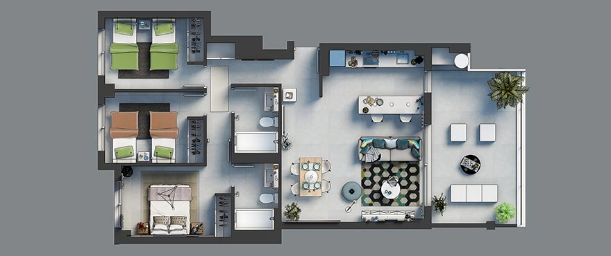 Floor plan, 3 bedroom, Arenal Dream, Javea.