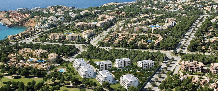 Vista aérea Serenity, apartamentos en venta Nova Santa Ponsa, Calviá, Mallorca