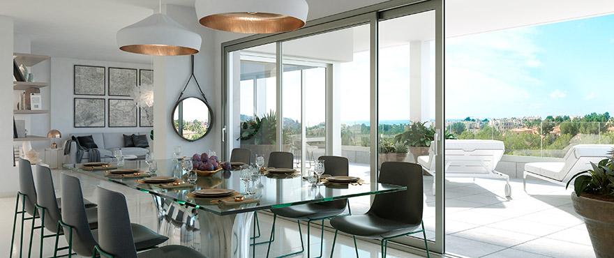 Serenity, ljust vardagsrum i de nya lägenheterna i Nova Santa Ponsa