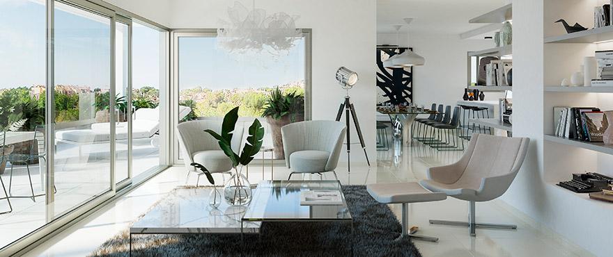 Serenity, salon lumineux dans les appartements de Nova Santa Ponsa