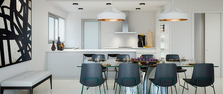Comedor con moderna cocina integrada de Serenity