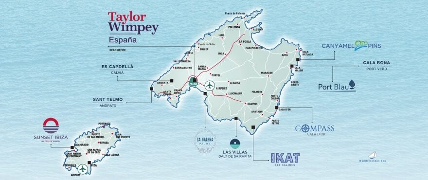 Map New properties for sale Mallorca-Ibiza