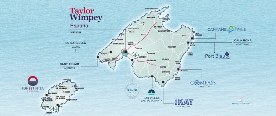 Mapa de situación viviendas Taylor Wimpey España en Mallorca-Ibiza