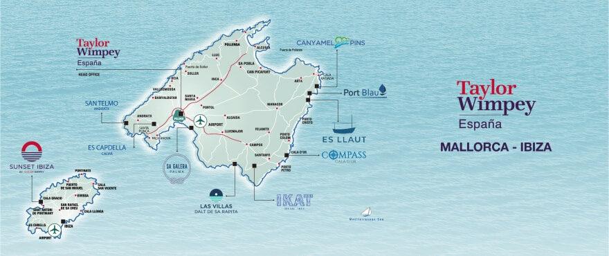 Carte Taylor Wimpey Mallorca-Ibiza