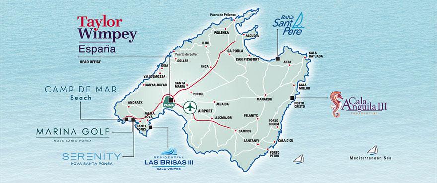 Plattegrond van de woningen van Taylor Wimpey Spanje in Mallorca
