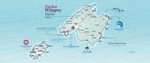 Karte mit Taylor Wimpey Projekten auf Mallorca