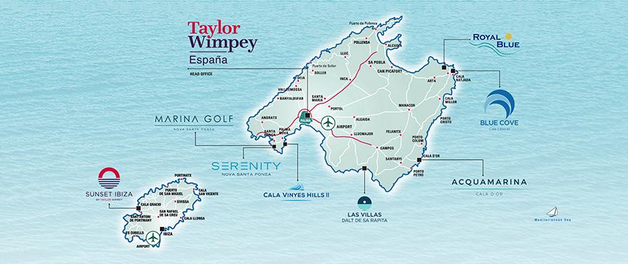 Områdeskarta över bostäderna av Taylor Wimpey España i Mallorca
