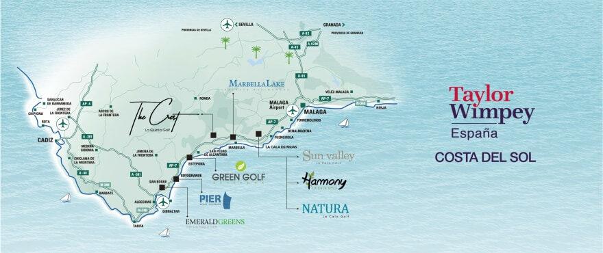 Mapa de situación de las viviendas de Taylor Wimpey en Costa del Sol