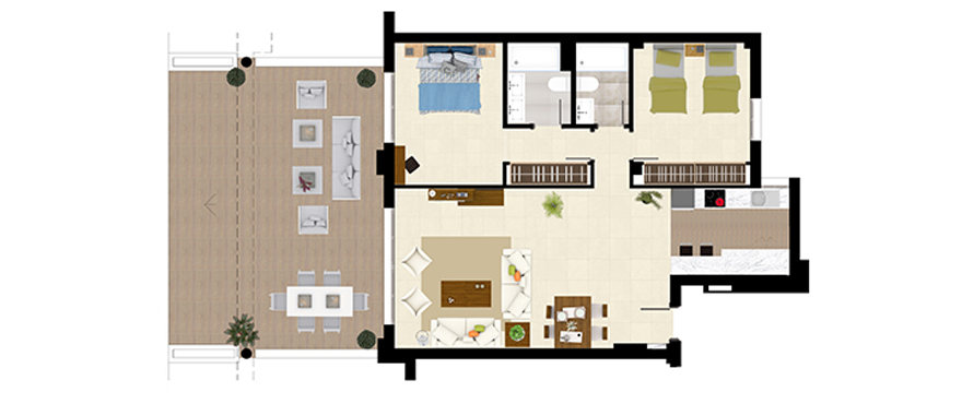 Plan Royal Banús, 2 Bedrooms Ground Floor