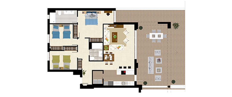 Plan Royal Banús, 3 Bedrooms Ground Floor