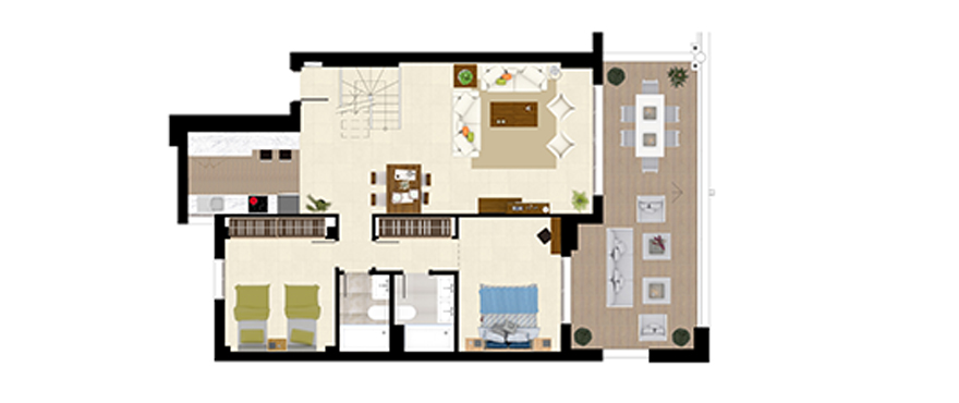 Plan Royal Banus, 2 Bedrooms Penthouse