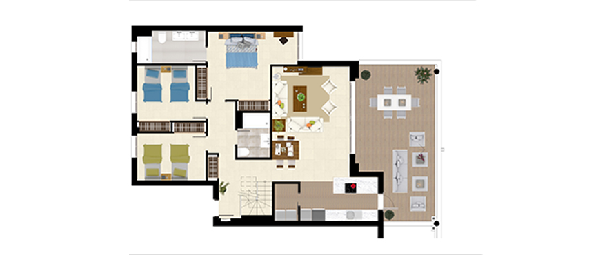 Plan Royal Banús, 3 Bedrooms Penthouse