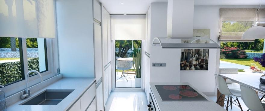 Spacious, bright living room – kitchen of the new villa in Sa Rápita