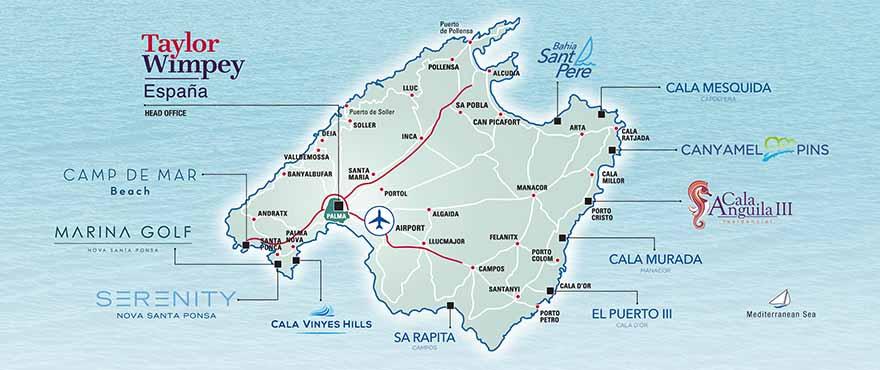 Kart over Taylor Wimpey Spain eiendommer på Mallorca