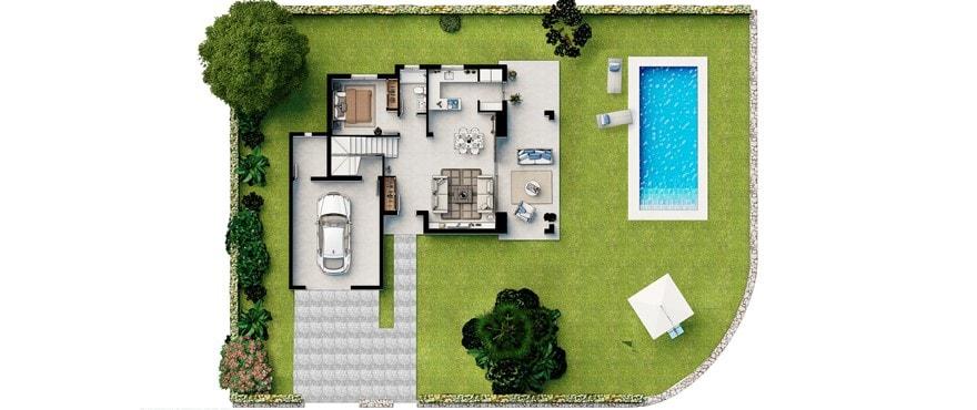 Plano chalet Sa Rápita con piscina
