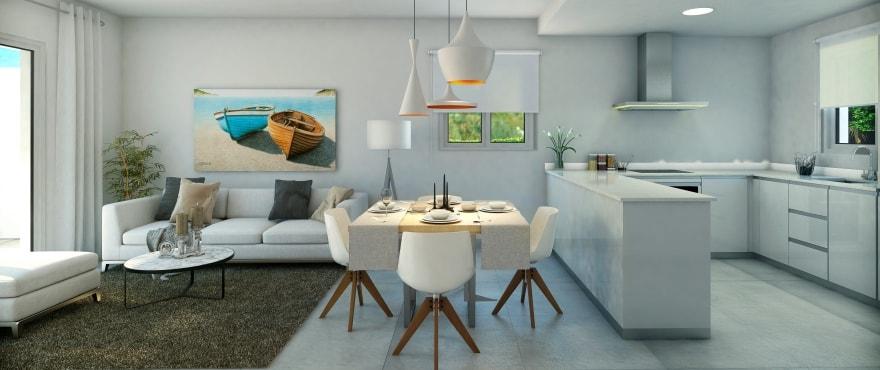 Licht salon in het nieuwe, residentiële project Acquamarina